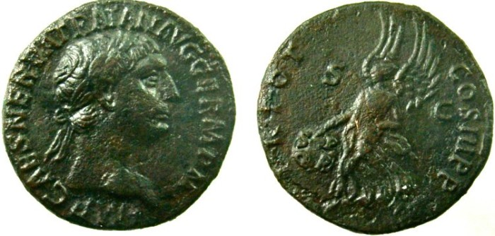 Ancient Coins - TRAJAN. 98-117 AD. Æ As, Victory holding shield inscribed SP/QR.