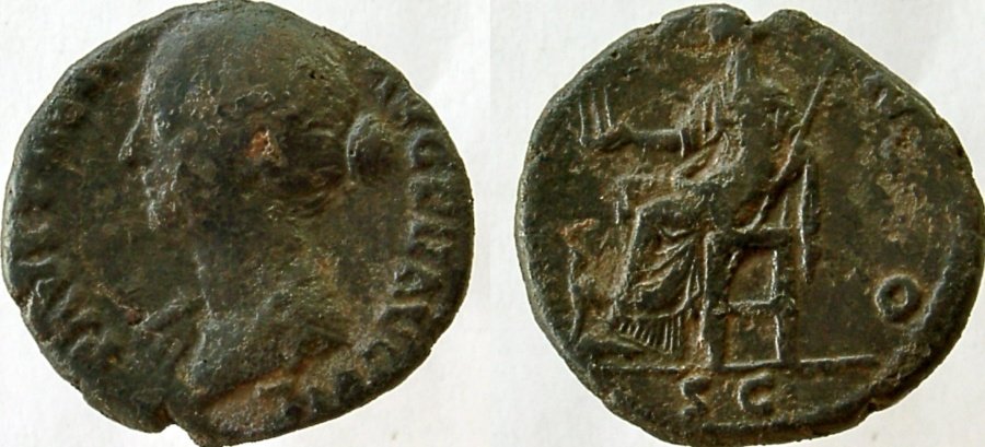 Ancient Coins - FAUSTINA Jr., Æ As, Juno seated left, holding the three Graces.  Unlisted in RIC with bust left.