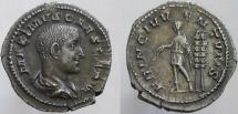 Ancient Coins - Maximus. Caesar, 235/6-238 AD. AR Denarius. EF, beautiful old cabinet toned.