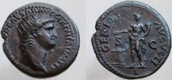 Ancient Coins - Nero. 54-68 AD. Æ Radiate-As. GENIO AVGVSTI. Æ Radiate-As - NOT a dupondius.