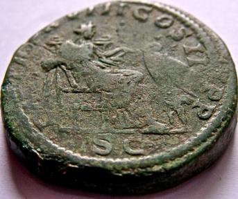 Ancient Coins - SEPTIMIUS SEVERUS, 193-211 AD. Æ Sestertius. Annona seated right.