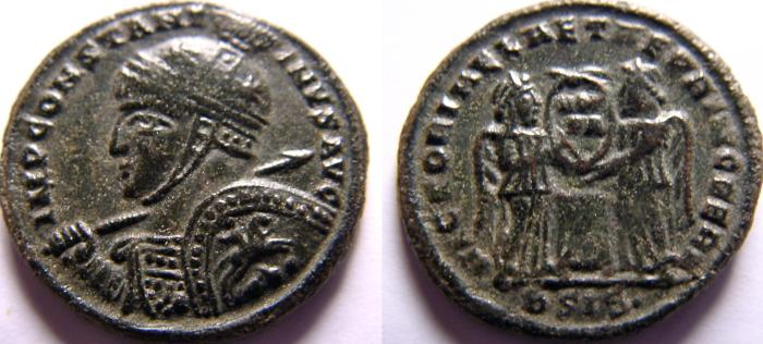 Ancient Coins - Constantine I. 307/310-337 AD. Æ Follis. VERY RARE type with horseman on the shield.