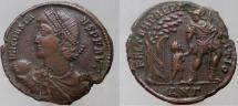 Ancient Coins - CONSTANS. 337-350 AD. Æ-2. Soldier leading figure from hut beneath tree.