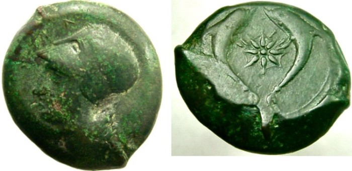 Ancient Coins - SICILY, Syracuse. Dionysios I. 405-367 BC. Æ Drachm, Sea-star between two dolphins.