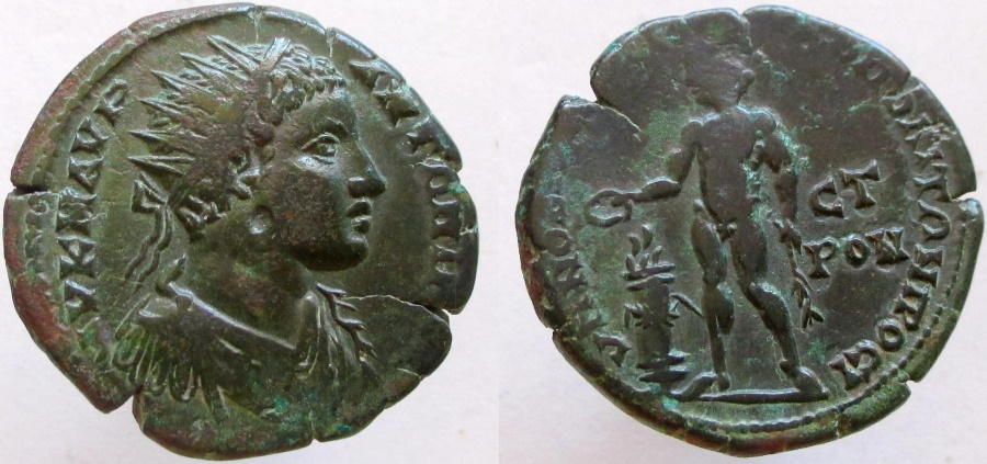 Ancient Coins - Elagabalus. 218-222 AD. Æ-27mm. Apollo holding branch and patera over altar.