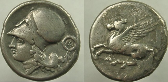 Ancient Coins - CORINTH. Circa 345-307 BC. AR Stater, Helmeted head of Athena, Pegasos.