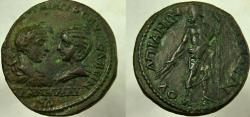 Ancient Coins - GORDIAN III and TRANQUILLINA, 241-244 AD. Æ 29mm, Zeus holding thunderbolt and sceptre.