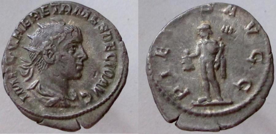 Ancient Coins - Herennius Etruscus, as Augustus. 251 AD. AR Antoninianus. VERY RARE issue as Augustus.