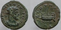 Ancient Coins - Allectus. Romano-British Emperor, 293-296 AD. Quinarius. Galley left.