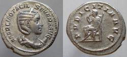 Ancient Coins - OTACILIA SEVERA, wife of Philip I. AR Antoninianus. PVDICITIA AVG.
