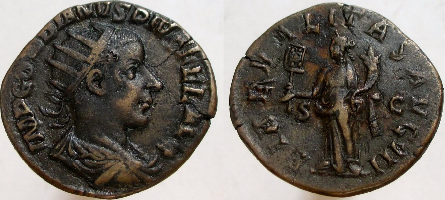 Ancient Coins - GORDIAN III. 238-244 AD. Æ Dupondius. RARE denomination for Gordian III.