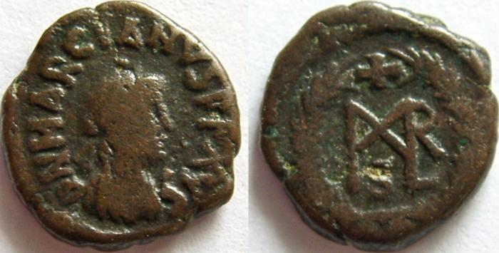 Ancient Coins - MARCIAN. 450-457 AD. Æ Nummus. Extraordinary condition for the type with full legend on obverse.