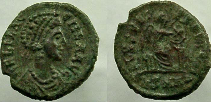 Ancient Coins - AELIA FLACCILLA,  wife of Theodosius I. Augusta, 379-386/8 AD. Æ-4, SALVS REI-PVBLICAE.