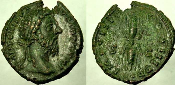 Ancient Coins - MARCUS AURELIUS. 161-180 AD. Æ As, EXTREMELY RARE. See note