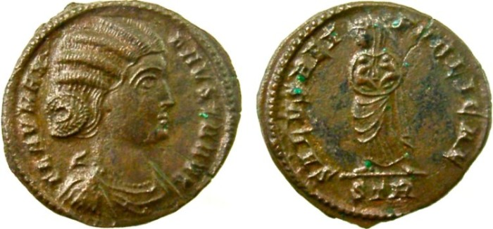 Ancient Coins - FAUSTA, wife of Constantine I, Augusta, 307-326 AD. Æ Follis, Salus holding two infants in arms;