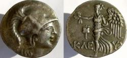 Ancient Coins - PAMPHYLIA, Side. Circa 155-36 BC. AR Tetradrachm. Head of Athena right; Nike advancing left.