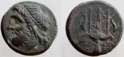 Ancient Coins - SICILY, Syracuse. Hieron II. 214-212 BC. Æ-Litra. Ornate trident between two dolphins.
