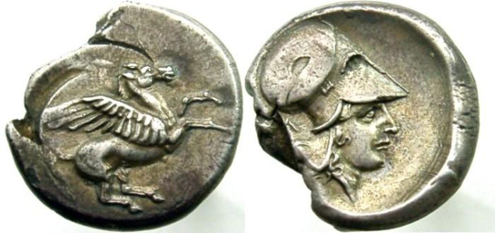 Ancient Coins - CORINTHIA, Corinth, Circa 405-345 BC. AR Stater, Pegasos right /  Athena right.