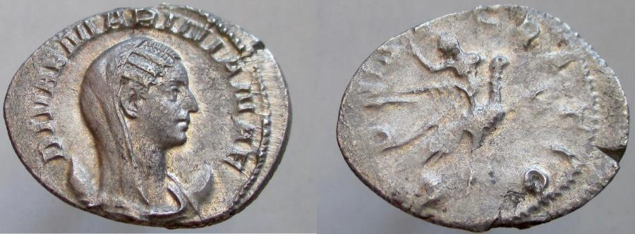 Ancient Coins - Mariniana. Died before 253 AD. AR Antoninianus. Mariniana reclining on peacock.
