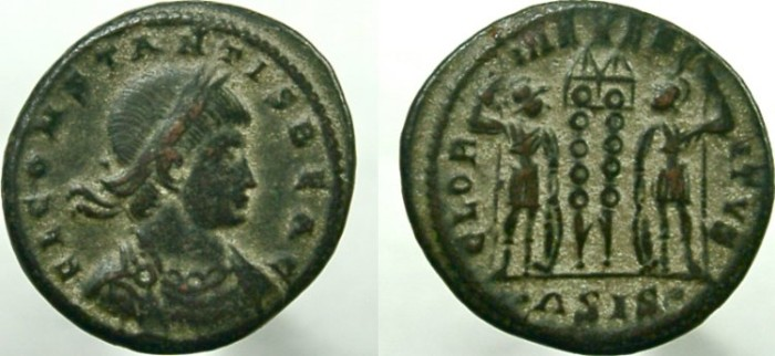 Ancient Coins - CONSTANS, as Caesar. RARE Obverse legend; FL CONSTANTIS BEA C: RARE.