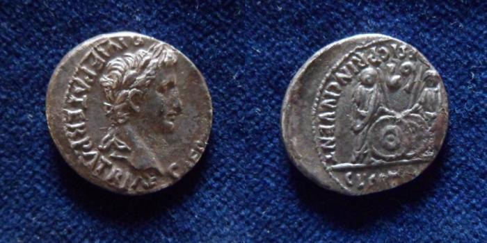 Ancient Coins - Augustus. 27 BC-AD 14. AR Denarius (19mm, 3.4 g).