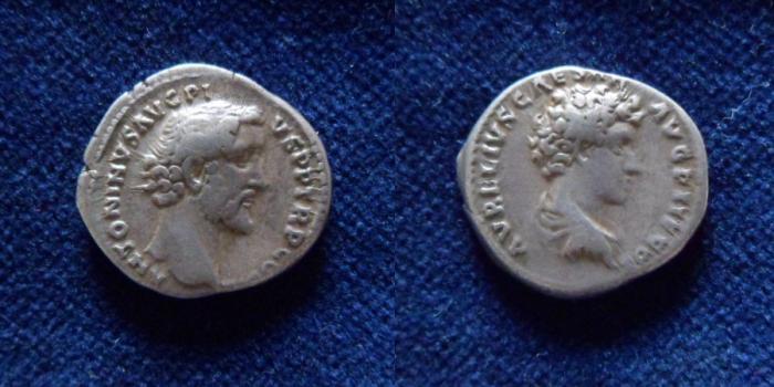 Ancient Coins - ANTONINUS PIUS and MARCUS AURELIUS, as Caesar. 140 AD. AR Denarius.