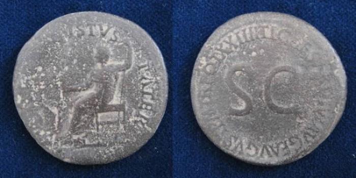 Ancient Coins - Tiberius. AD 14-37. Æ Sestertius (35mm,25.4gr). Rome mint. Struck AD 22-23
