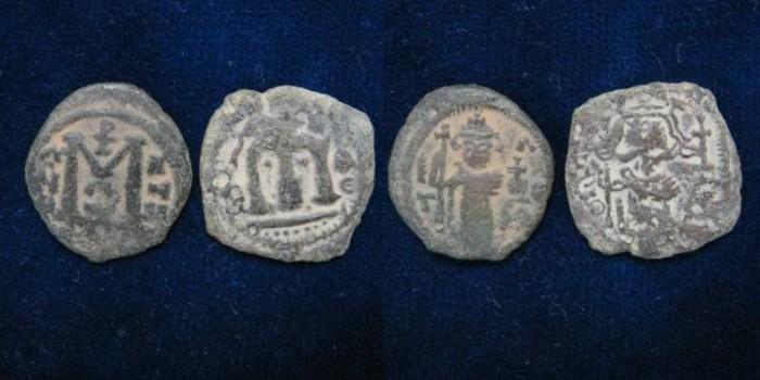 Ancient Coins - Lot of 2 Arab-Byzantine coins type Damascus.