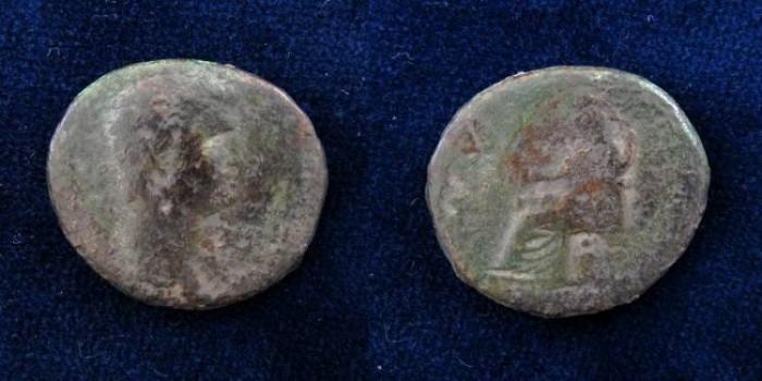 Ancient Coins - JUDAEA, Caesaraea Maritima. Nero, with Agrippina Junior. AD 54-68.