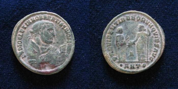 Ancient Coins - Diocletian. As Senior Augustus, AD 305-311/2. Æ Follis (25mm). Antioch mint,