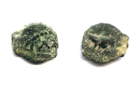 Ancient Coins - Judean, Herod I the great, AE12 lepton.