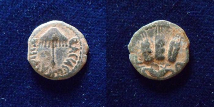 Ancient Coins - HERODIAN KINGS of JUDAEA. Agrippa I. 37-44 CE. Æ Prutah.