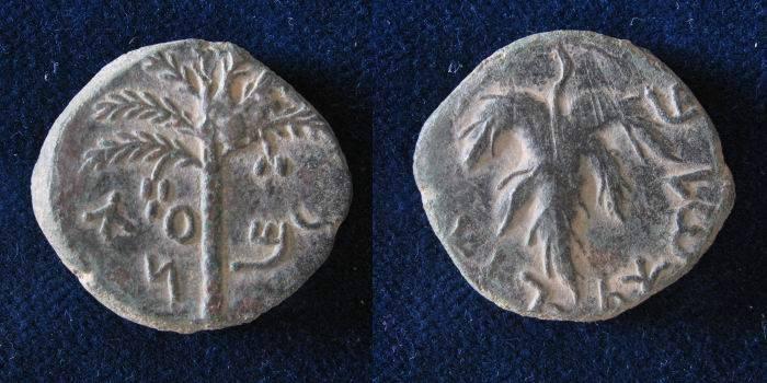 Ancient Coins - Judaea. Bar Kochba Revolt. 132-135 A.D. AE 25mm