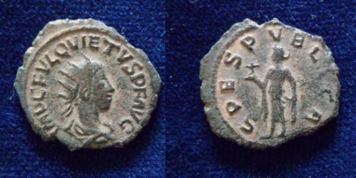 Ancient Coins - Quietus. Usurper, AD 260-261. Antoninianus (21mm, 3.7gr). Samosata mint.