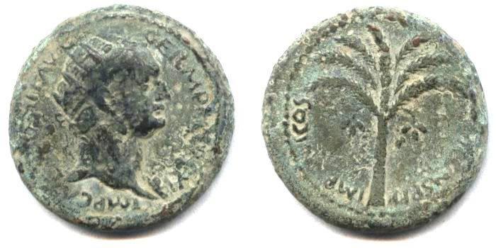 Ancient Coins - Judean, Domitian Judaea Capta PALM TREE, Local Issue