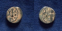 Ancient Coins - SLAMIC, Umayyad Caliphate (Arab-Byzantine coinage). Circa 680s. Æ Fals. Dimashq (Damascus) mint.