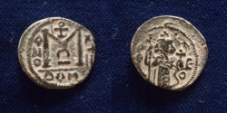 Ancient Coins - ISLAMIC, Umayyad Caliphate (Arab-Byzantine coinage). Circa 680s. Æ Fals.