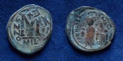 Ancient Coins - Heraclius, with Heraclius Constantine. 610-641. Æ Follis. (Overstruck)