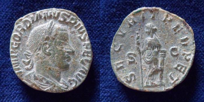 Ancient Coins - Gordian III. AD 238-244. Æ Sestertius (29.5mm,18.2gr). Rome mint.