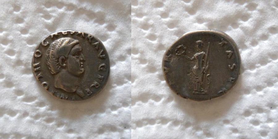 Ancient Coins - Otho. AD 69. AR Denarius (18mm, 3.51 g, 6h). Rome mint.