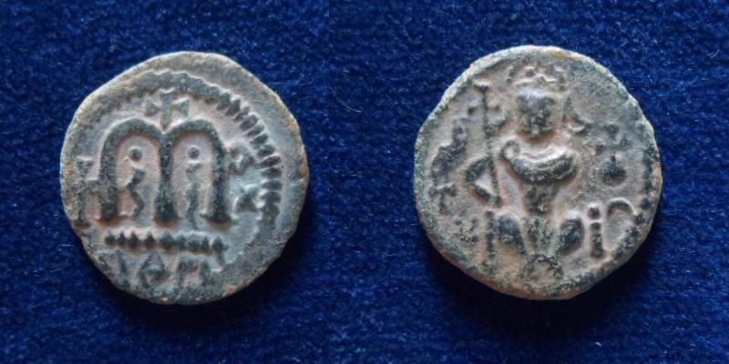 Ancient Coins - Arab Byzantine type Damascus.Sitting caliph.Rare issue.