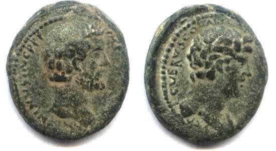 Ancient Coins - Judean, Aelia Capitolina, Antoninus pius and Marcus Aurelius, AE23.5mm