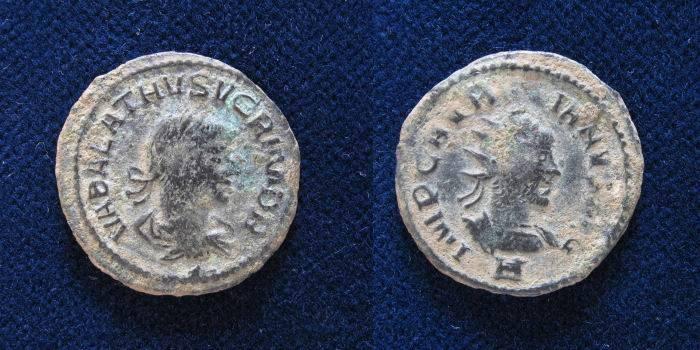 Ancient Coins - AURELIAN & VABALATHUS. 271-272 AD. Antoninianus (20mm/4gr). Antioch mint.