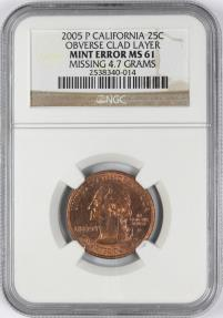 US Coins - 2005-P 25C California, Obv Clad Layer Missing, NGC Mint Error MS61, 4.7 grams