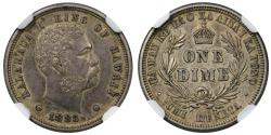 World Coins - 1883 Hawaii 10C NGC AU55