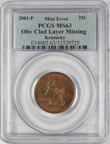 US Coins - 2001-P 25C Kentucky, Missing Obv Clad Layer, PCGS MS63