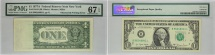 1977A $1 New York FRN, Obstructed Printing Error, PMG GEM 67 EPQ