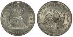 Us Coins - 1855 Seated 25C ANACS AU58 Details - Cleaned