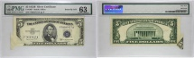 Us Coins - 1953B $5 Silver Certificate, Butterfly Fold Error, PMG 63