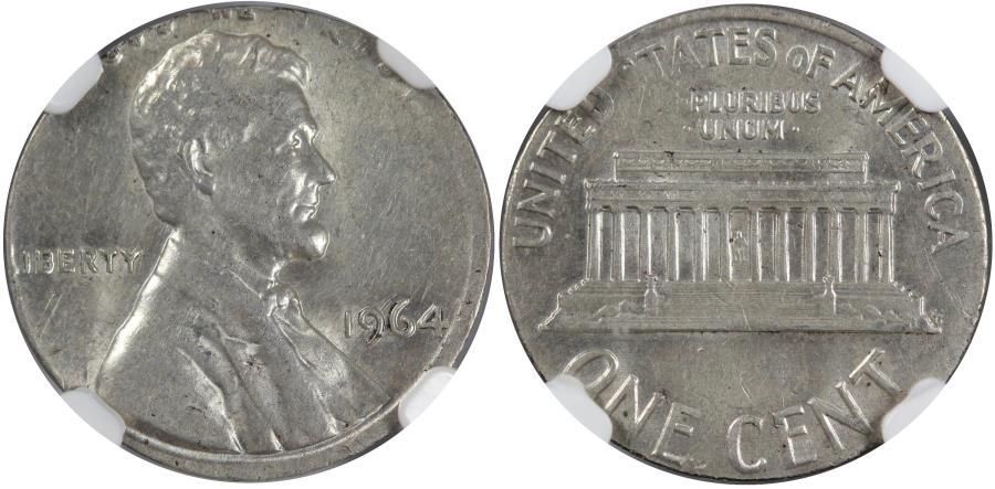 US Coins - 1964 1C Struck on a 10C Blank, NGC Mint Error AU58, 2.5 grams
